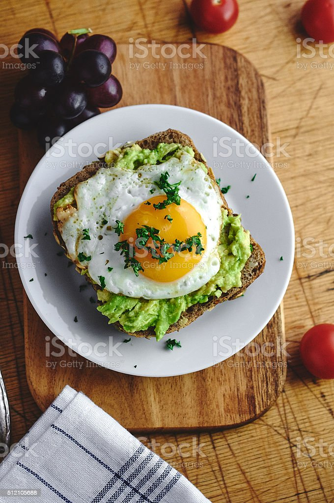 Fried egg with Avocado on bread stock photo