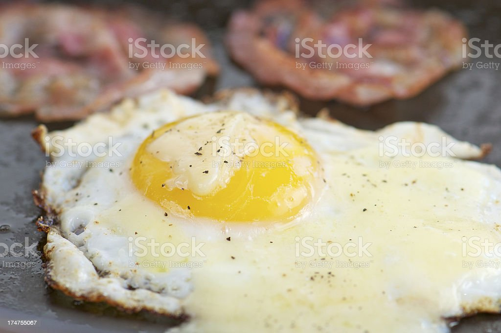 Fried Egg with Cheese and Pancetta in Cast Iron Skillet royalty-free stock photo