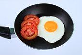 Fried egg with fresh tomato