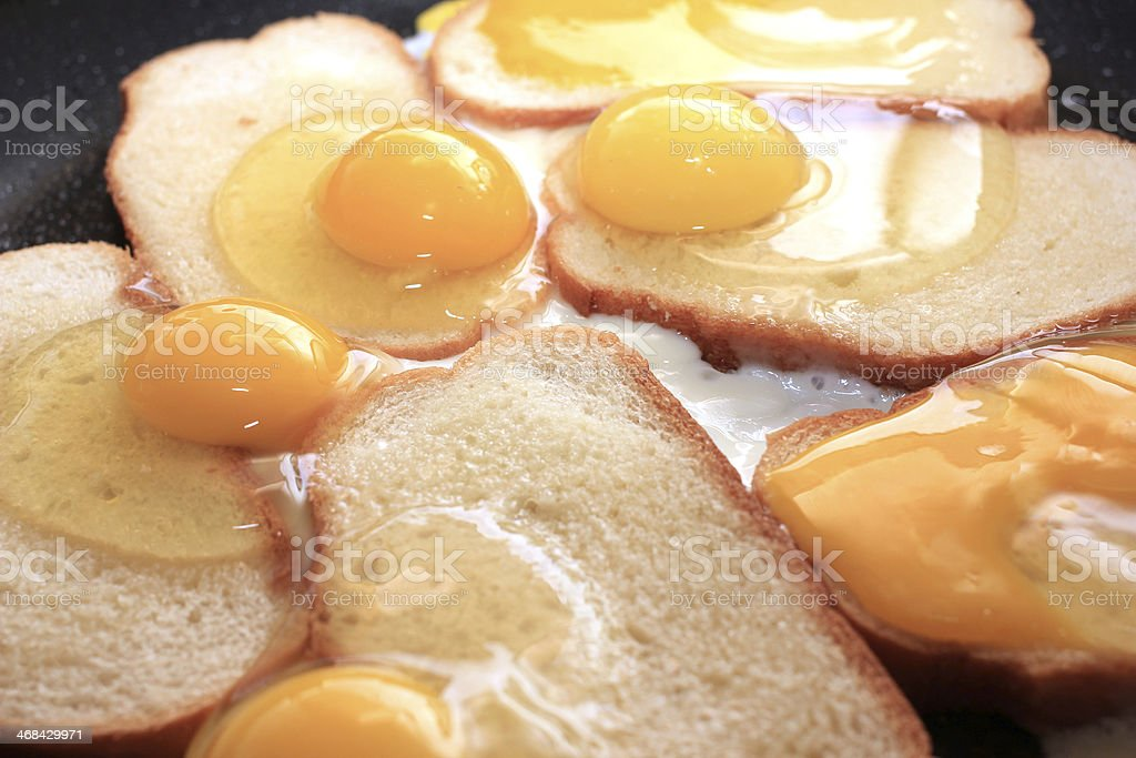 fried eggs and fried bread stock photo