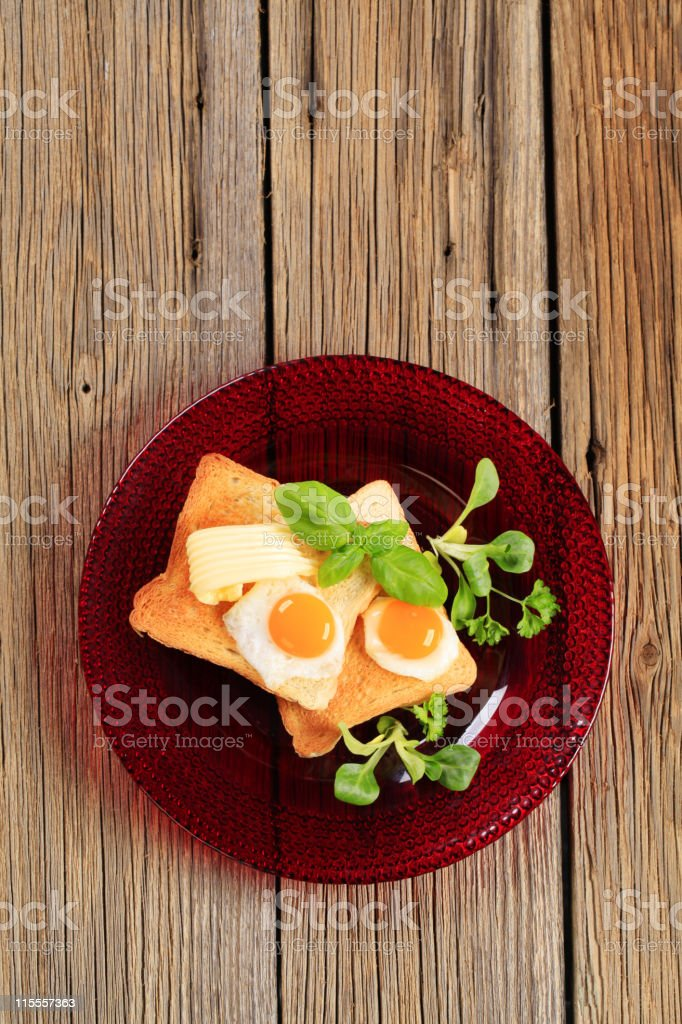 Fried eggs and toast royalty-free stock photo