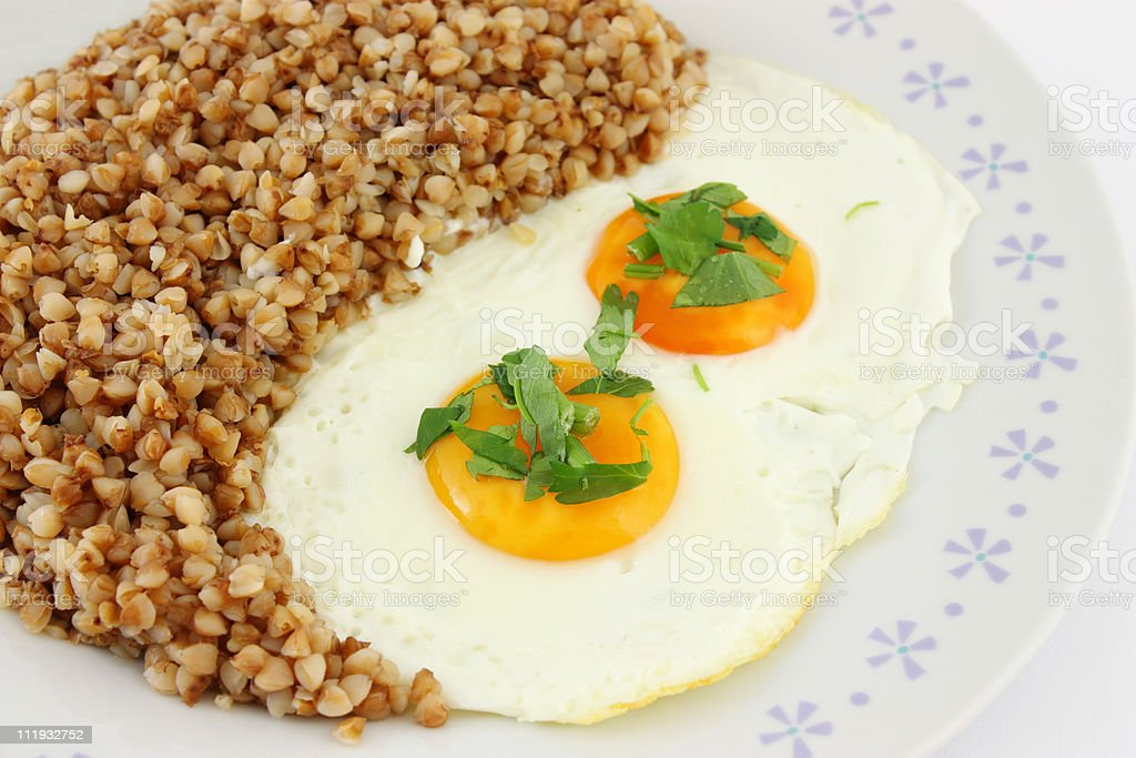 Fried Eggs in plate royalty-free stock photo