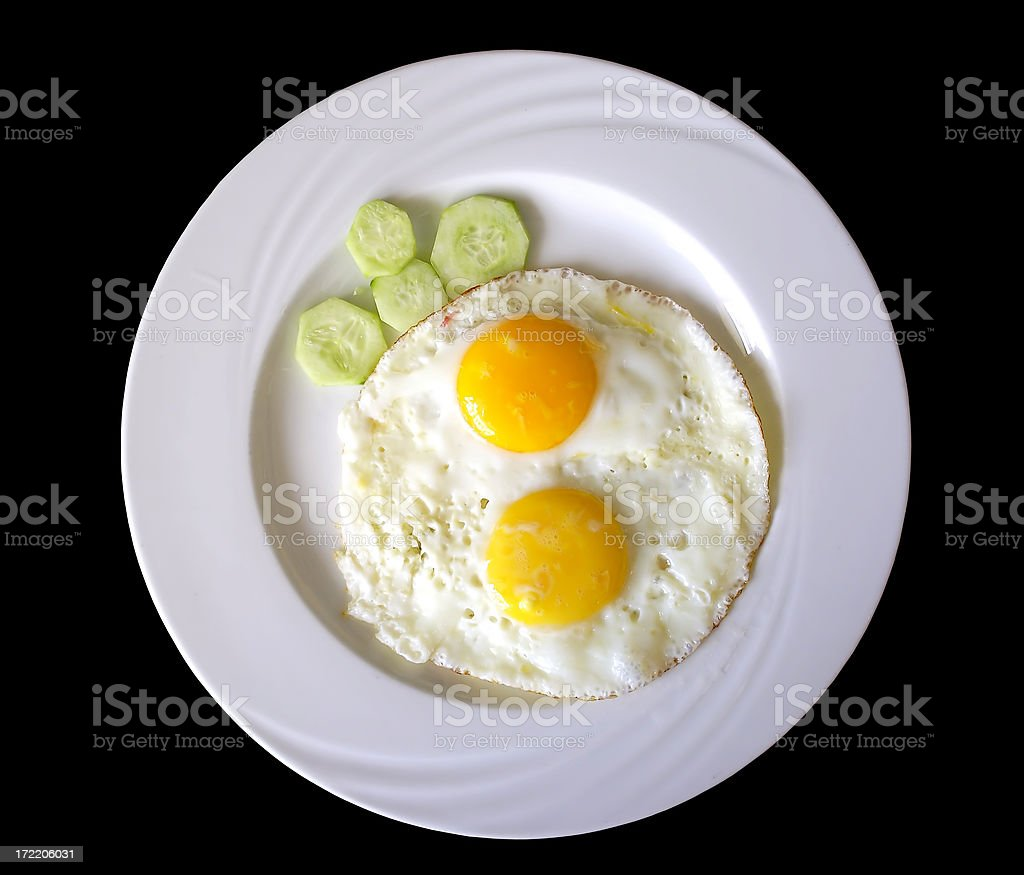 Fried eggs on a plate (black background) royalty-free stock photo