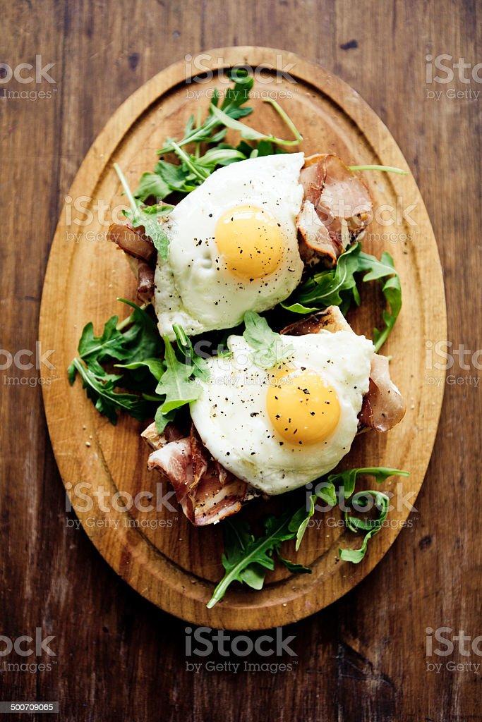 Fried Eggs Sandwich stock photo