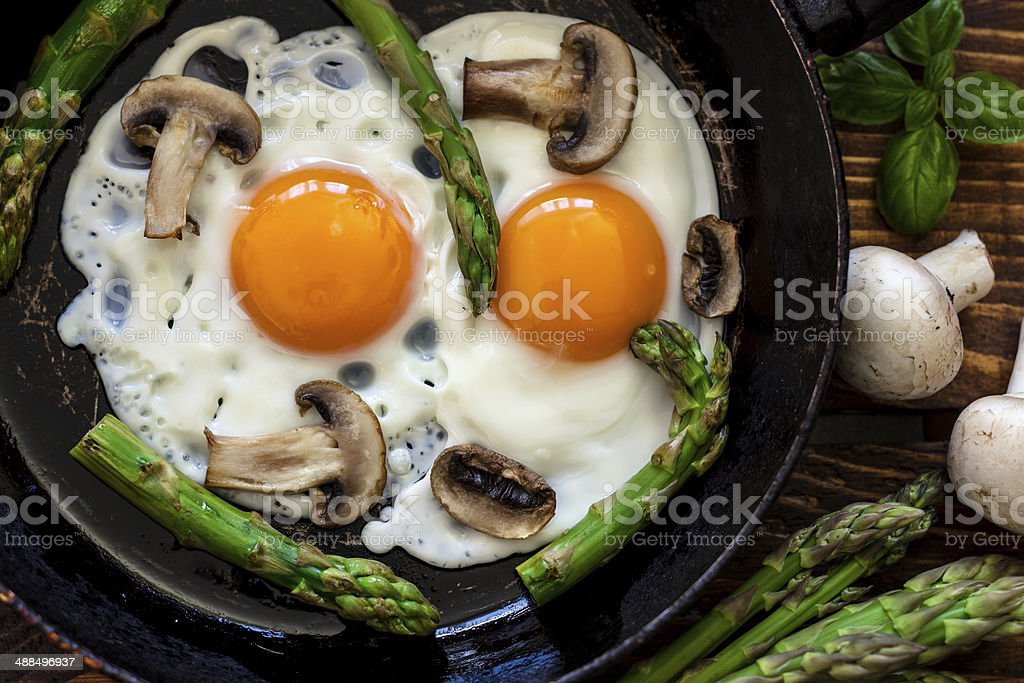 Fried Eggs With Asparagus royalty-free stock photo