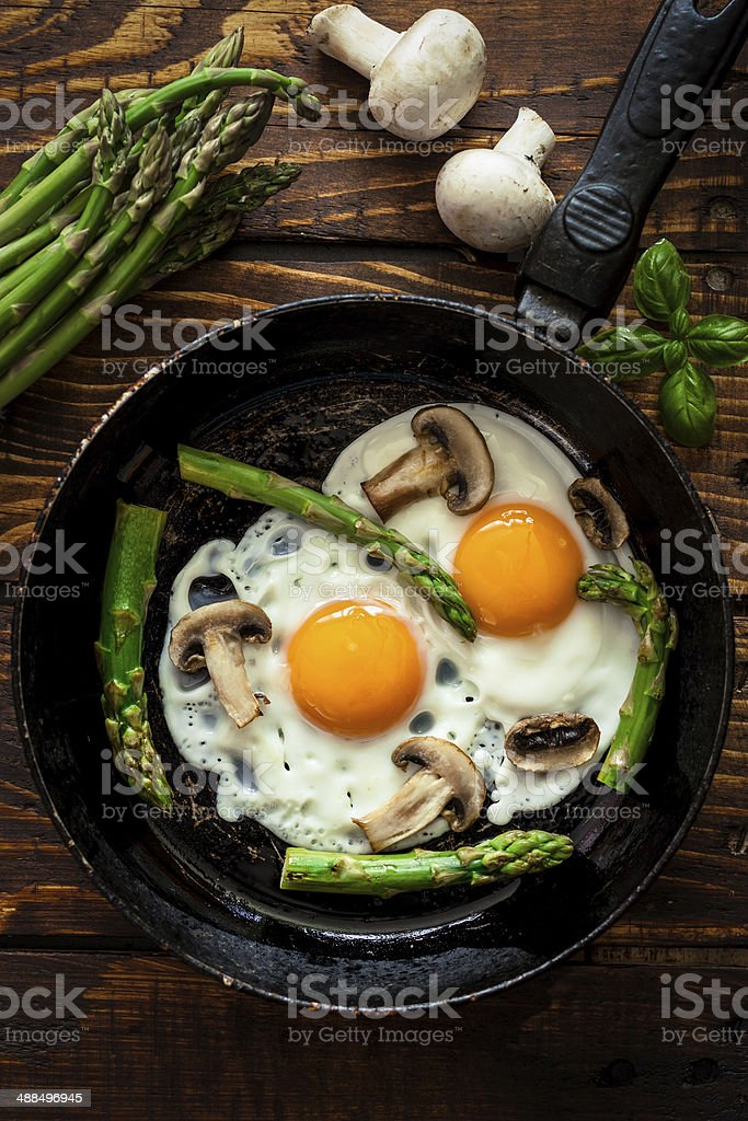 Fried Eggs With Asparagus stock photo