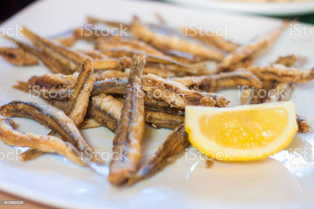 Fried European anchovies stock photo