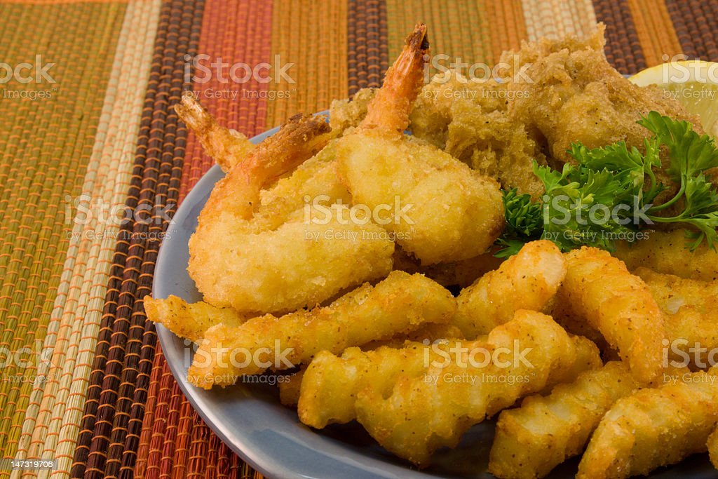 fried fish and shrimp with fries royalty-free stock photo