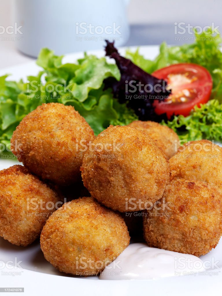 Fried fish balls with tarter sauce stock photo