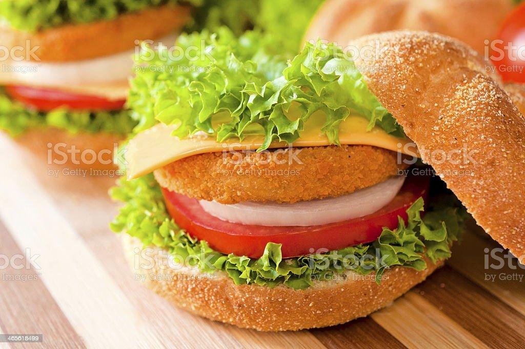Fried fish burger royalty-free stock photo