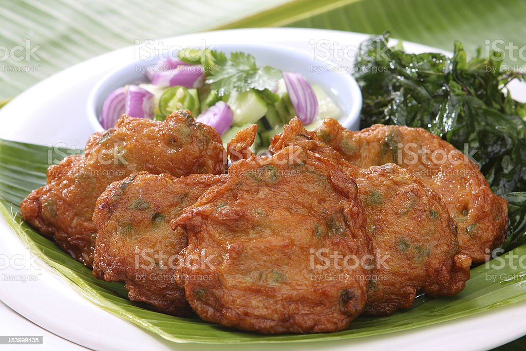 Fried Fish Cakes a delicious Thai Food stock photo