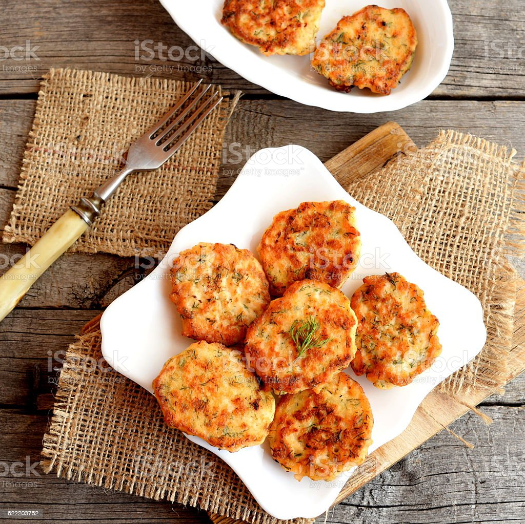 Fried fish cakes on a plate stock photo