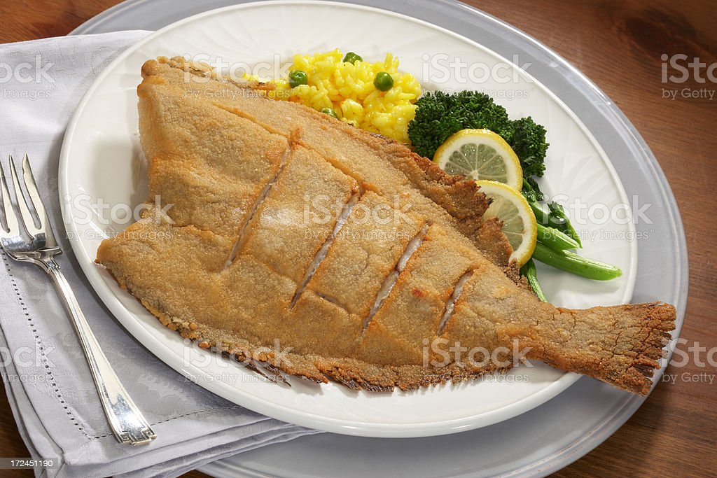 fried fish dinner royalty-free stock photo