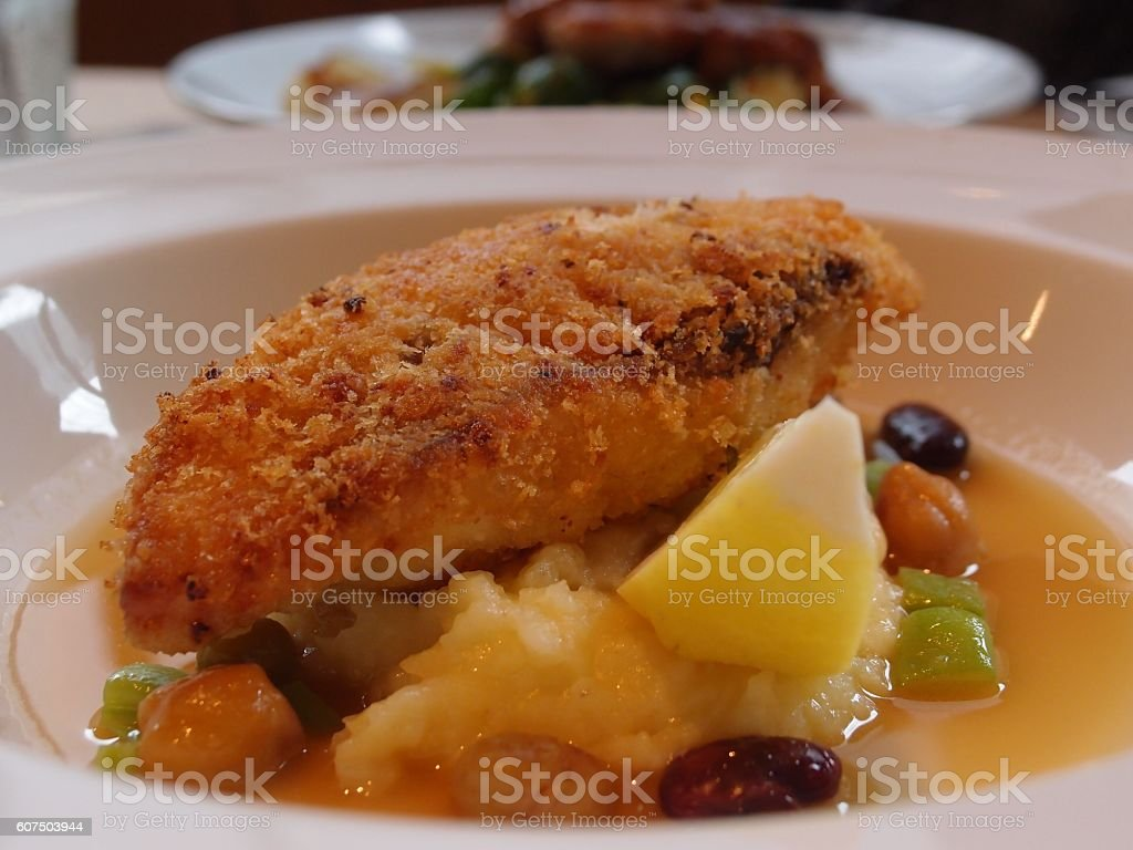 Fried Fish with mashed potatoes stock photo