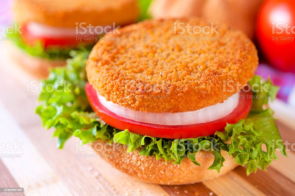 Fried fishburger stock photo