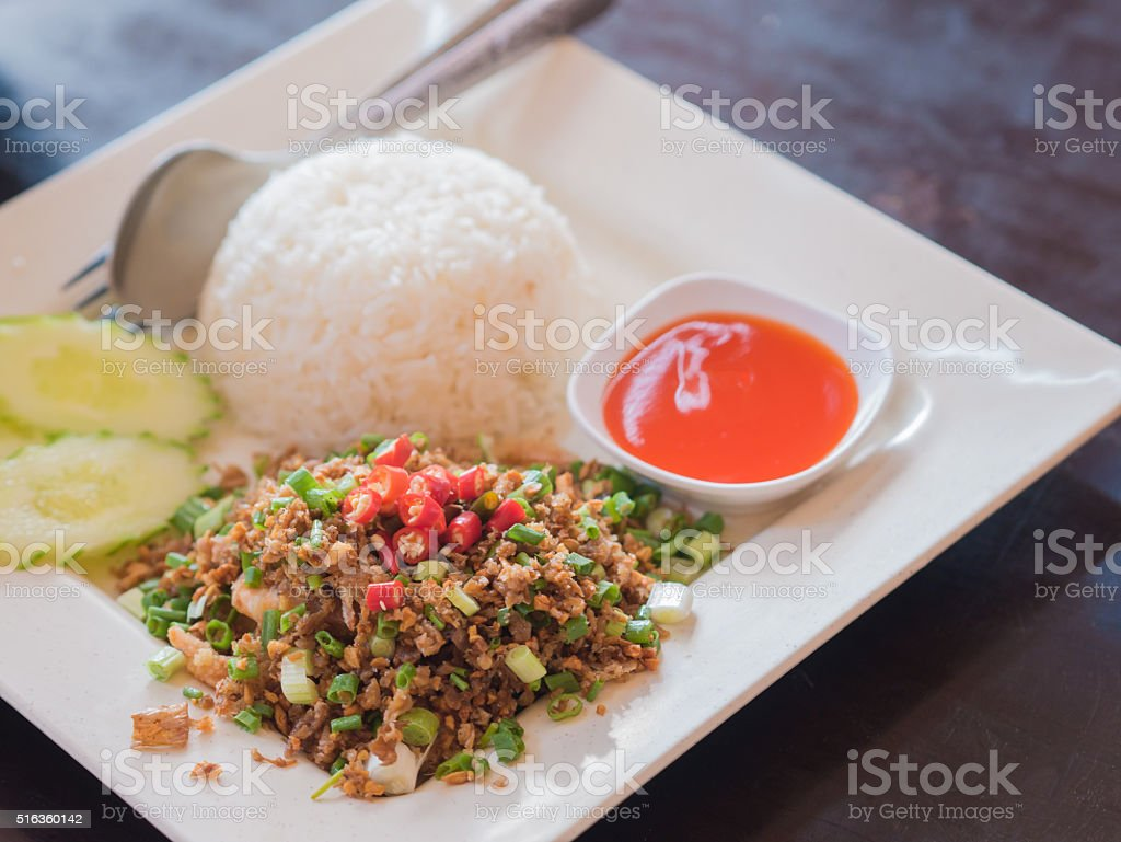 Fried garlic with rice and pepper sauce. royalty-free stock photo