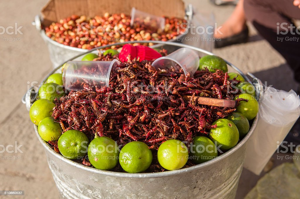 Fried Grasshoppers for Sale, Mexico stock photo