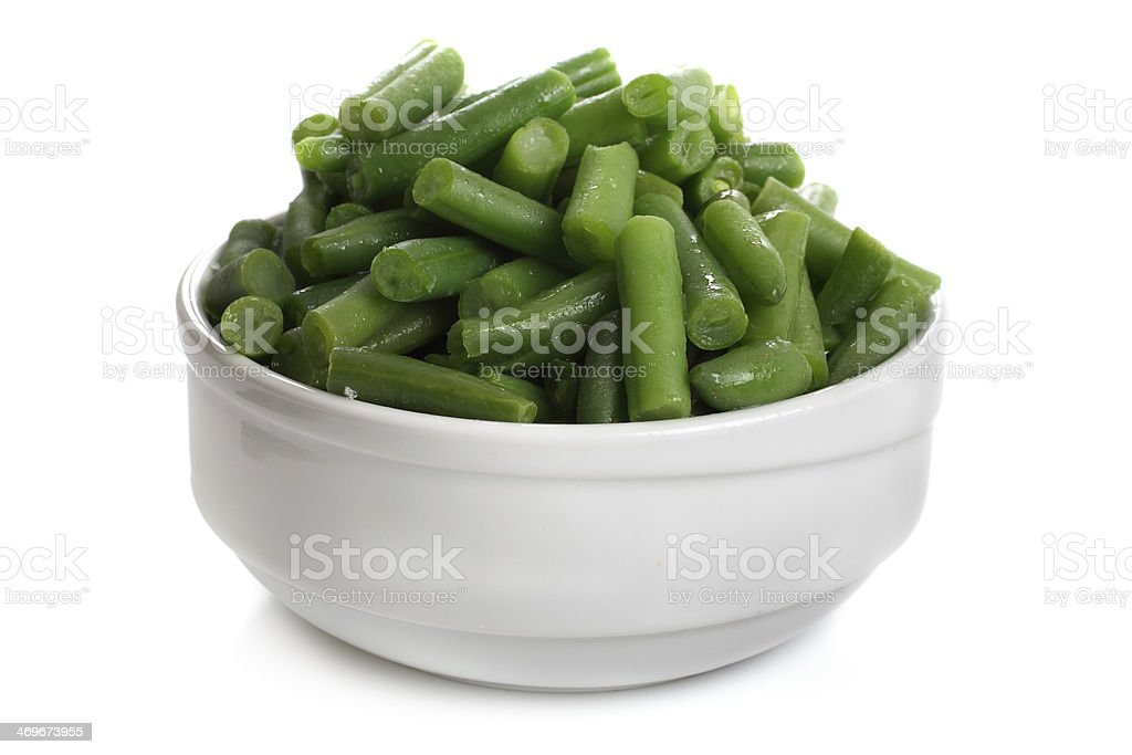 fried green beans in a white cup stock photo