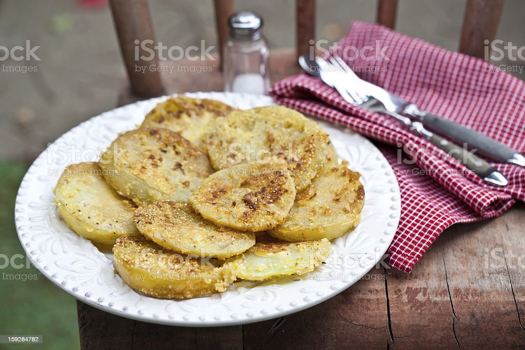 Fried green tomatoes battered stock photo