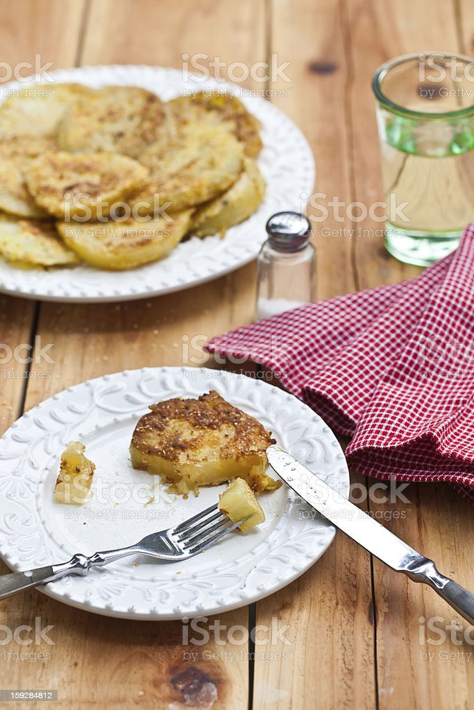 Fried green tomatoes battered royalty-free stock photo
