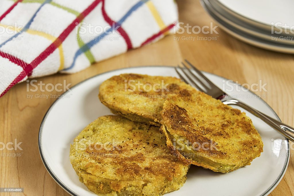 Fried green tomatoes stock photo