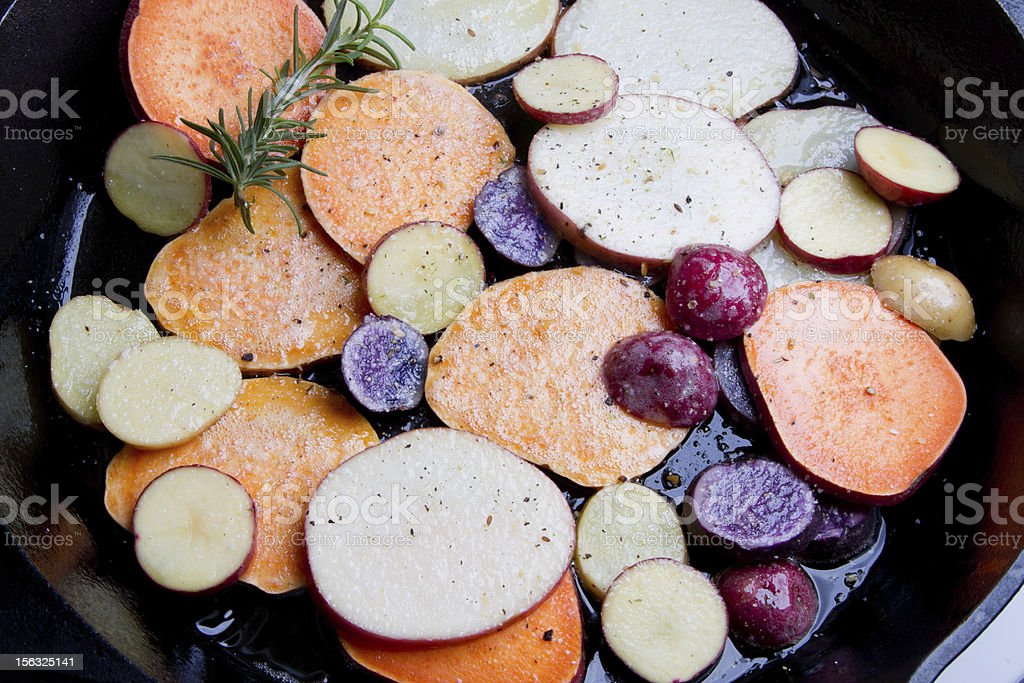 Fried Heirloom Potatoes and Yams royalty-free stock photo