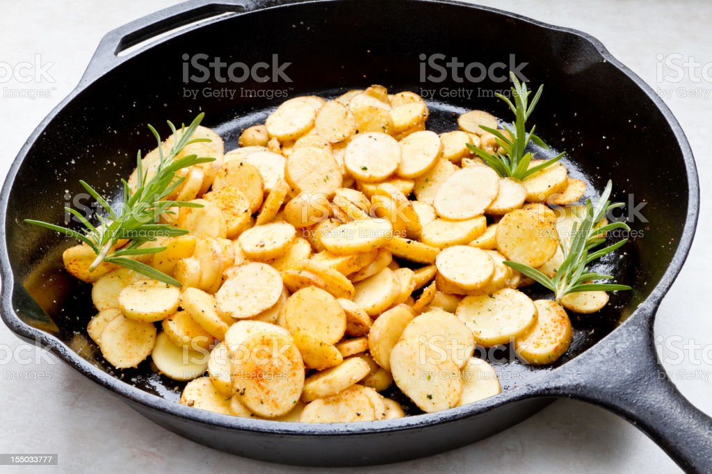 Fried Heirloom Potatoes royalty-free stock photo