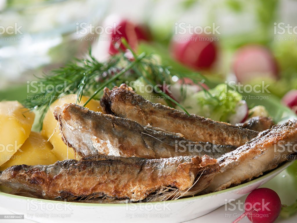 Fried herring with salad royalty-free stock photo