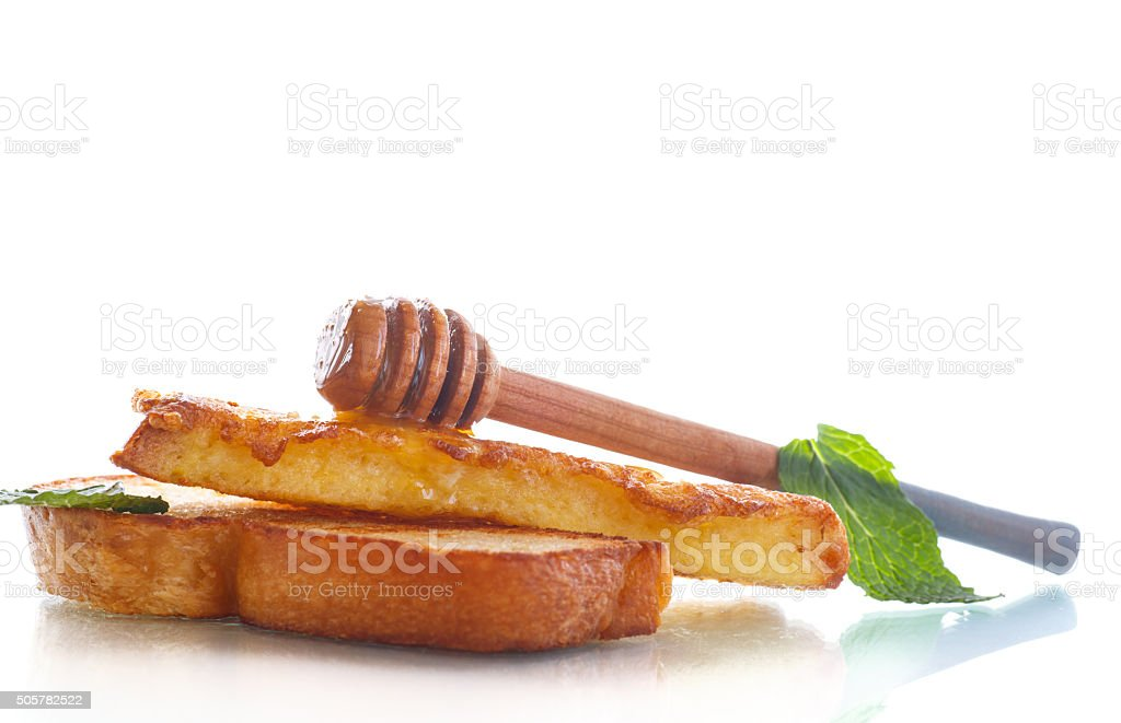 fried in batter toast with honey stock photo