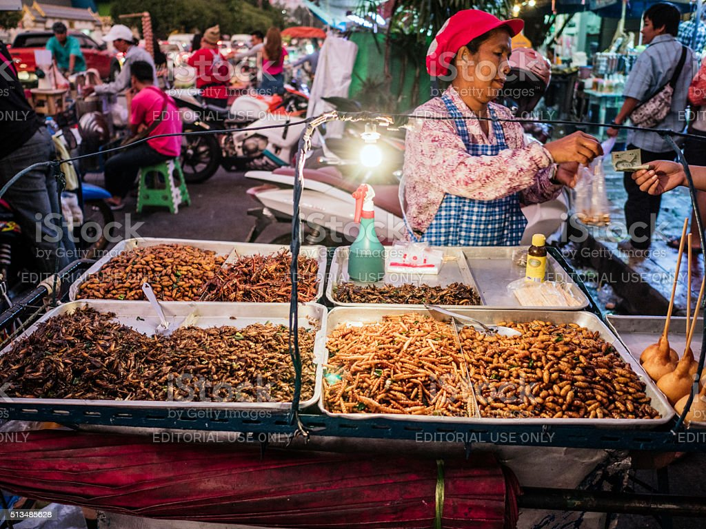 Fried insects for sale at Chatuchak market Bangkok stock photo