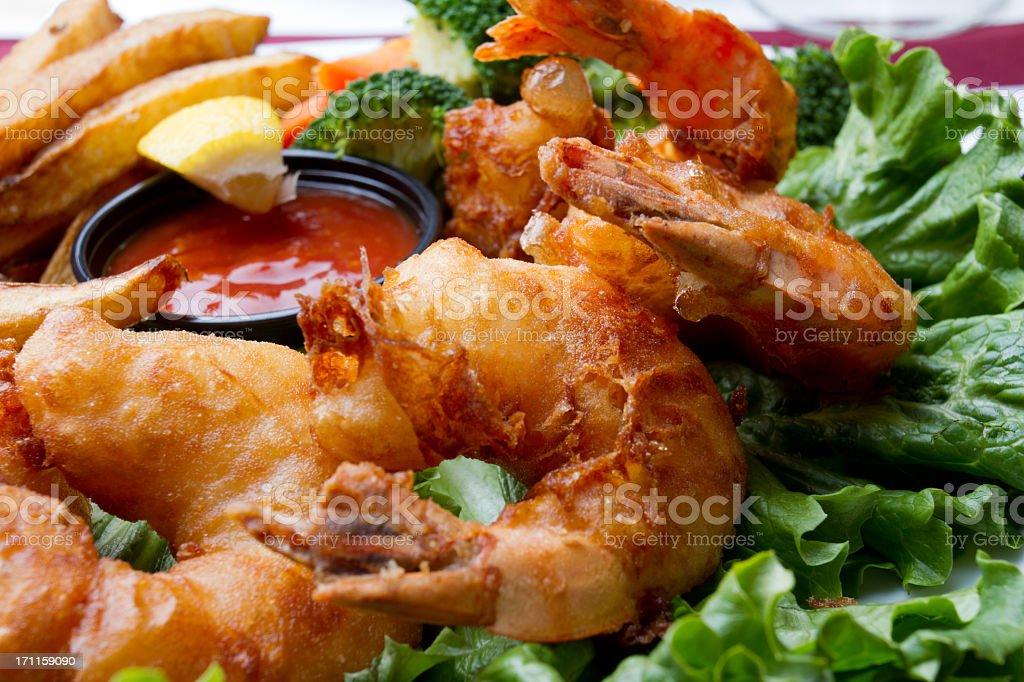 Fried Jumbo Shrimp Dinner stock photo