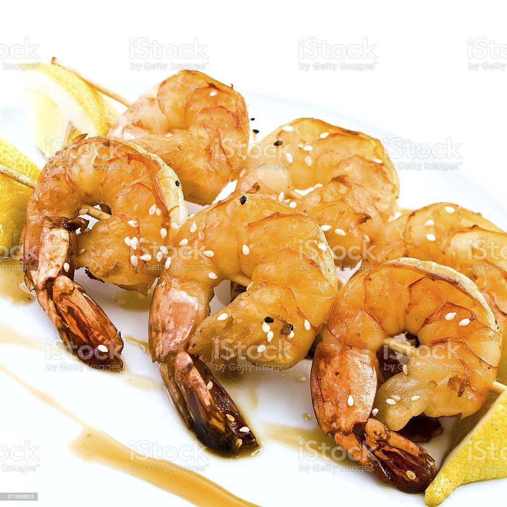 Fried jumbo shrimps stock photo