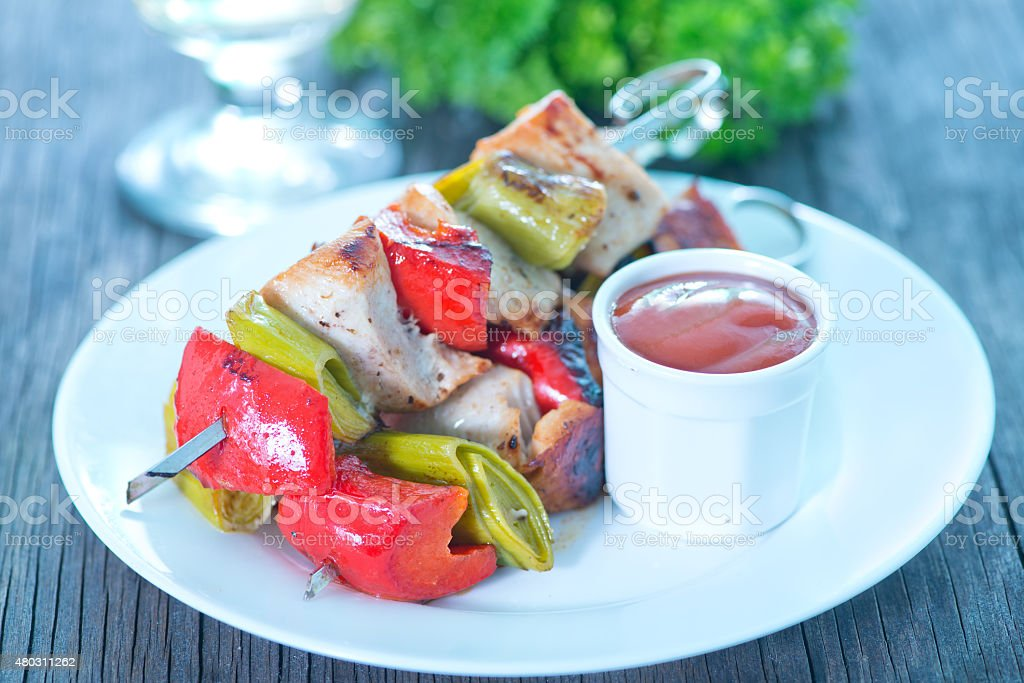 fried kebab with sauce stock photo