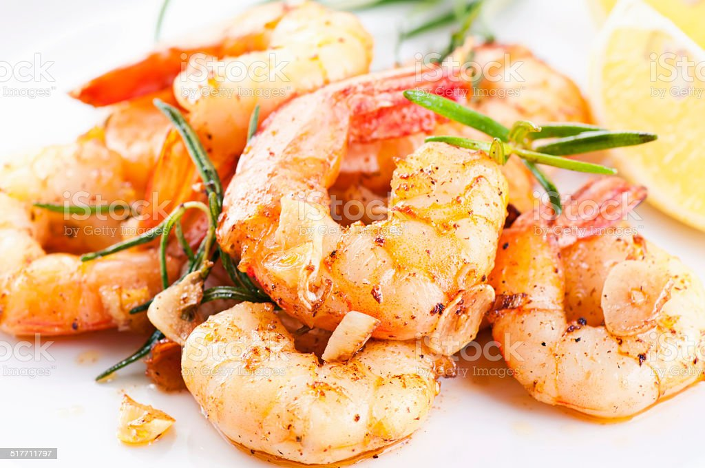 Fried King Prawns stock photo