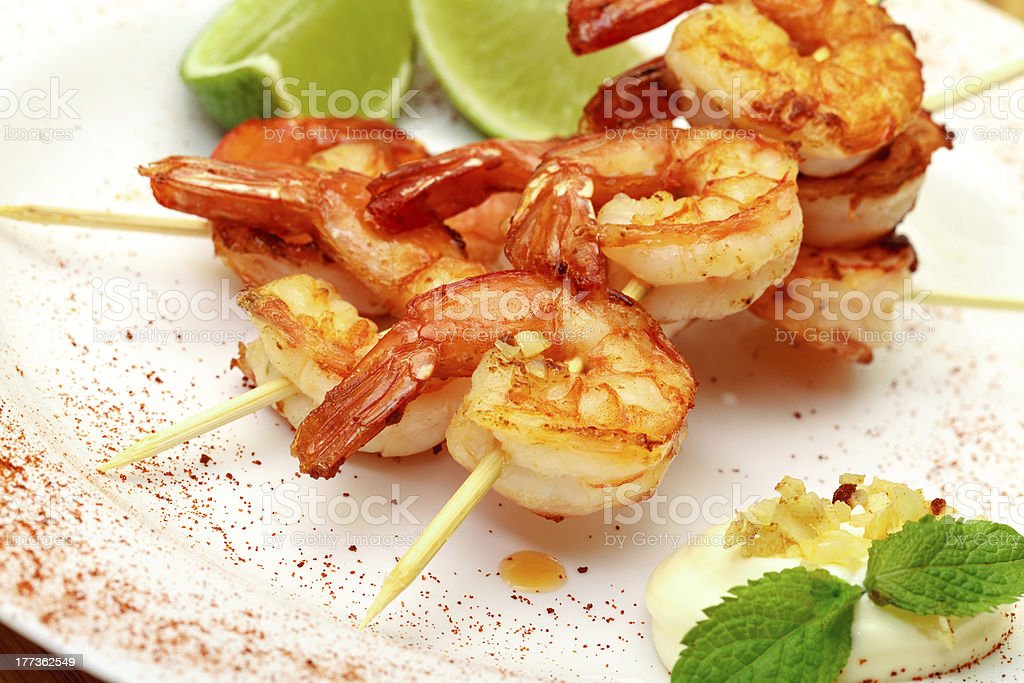 Fried King Prawns Served in Plate stock photo