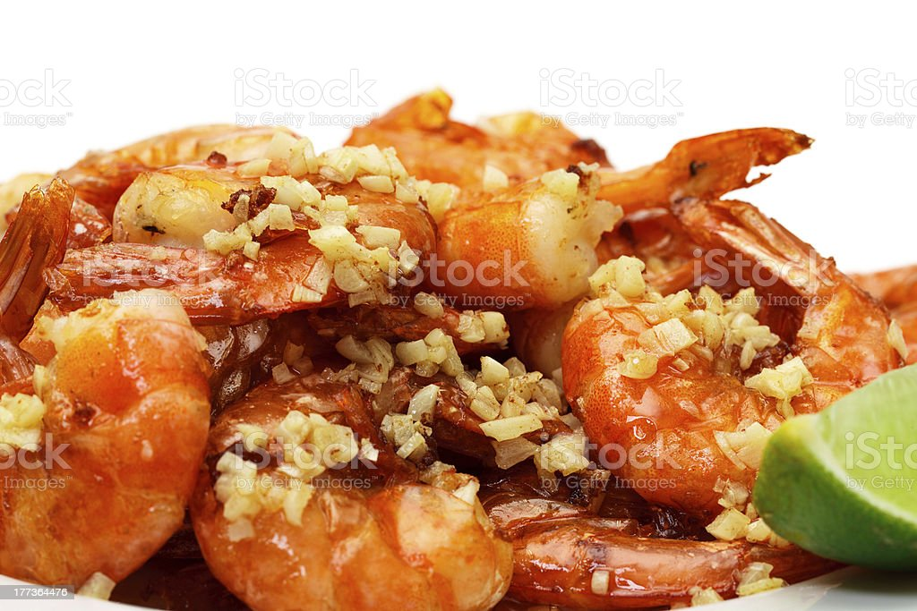 Fried King Prawns Served in Plate royalty-free stock photo