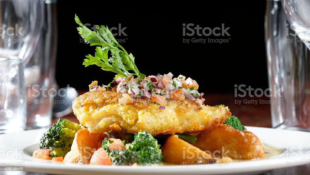 Fried Kingklip stock photo