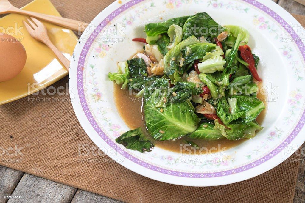 Fried lettuce stock photo