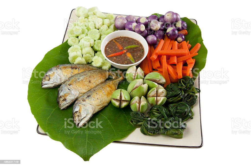 fried mackerel and pepper sauce01 royalty-free stock photo