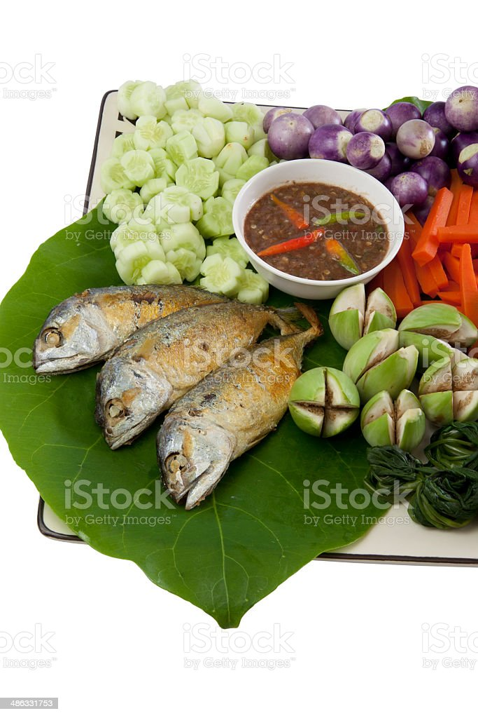 fried mackerel and pepper sauce02 royalty-free stock photo