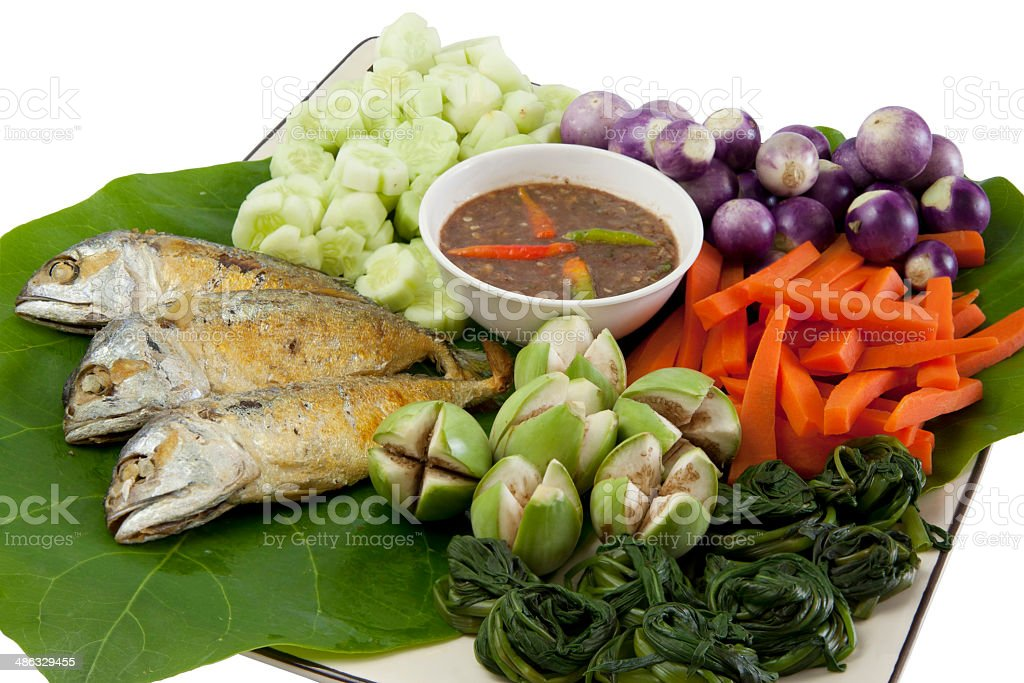 fried mackerel and pepper sauce03 royalty-free stock photo