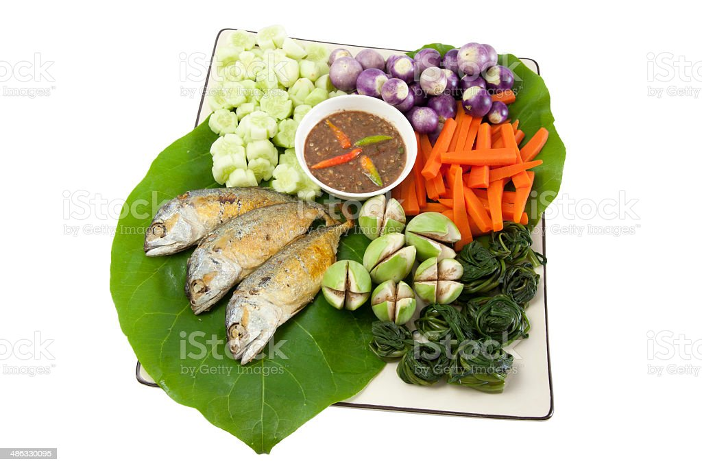 fried mackerel and pepper sauce04 royalty-free stock photo