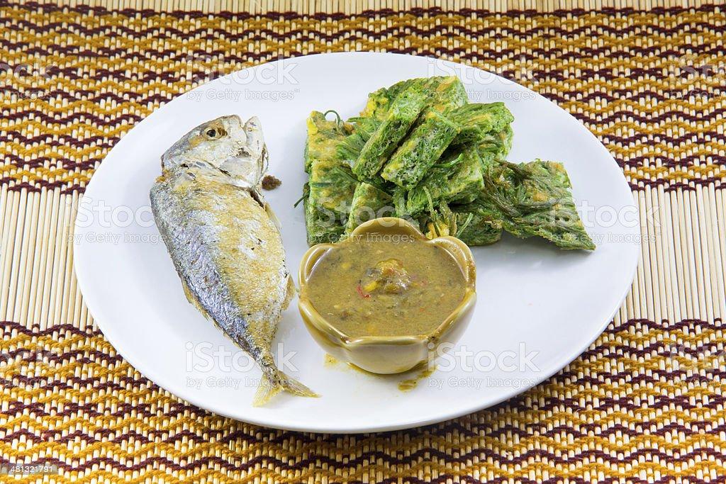 Fried Mackerel fish and chili sauce stock photo