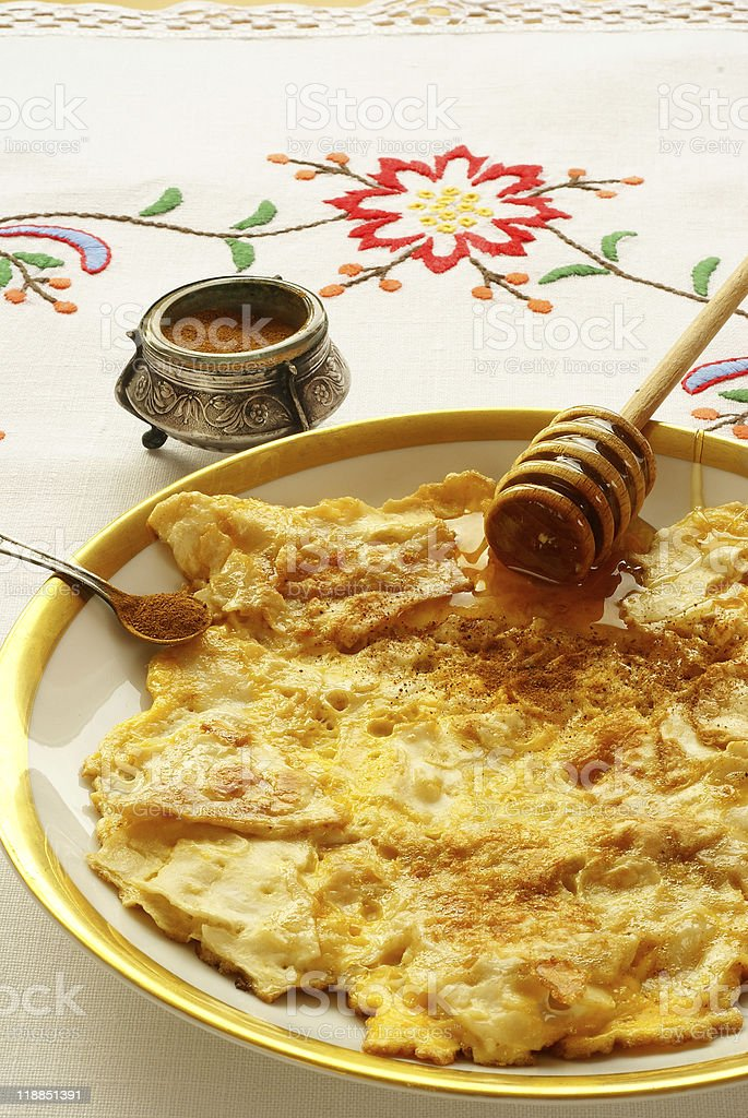 "Fried matzo (""matzo brei"") - omelette style royalty-free stock photo"