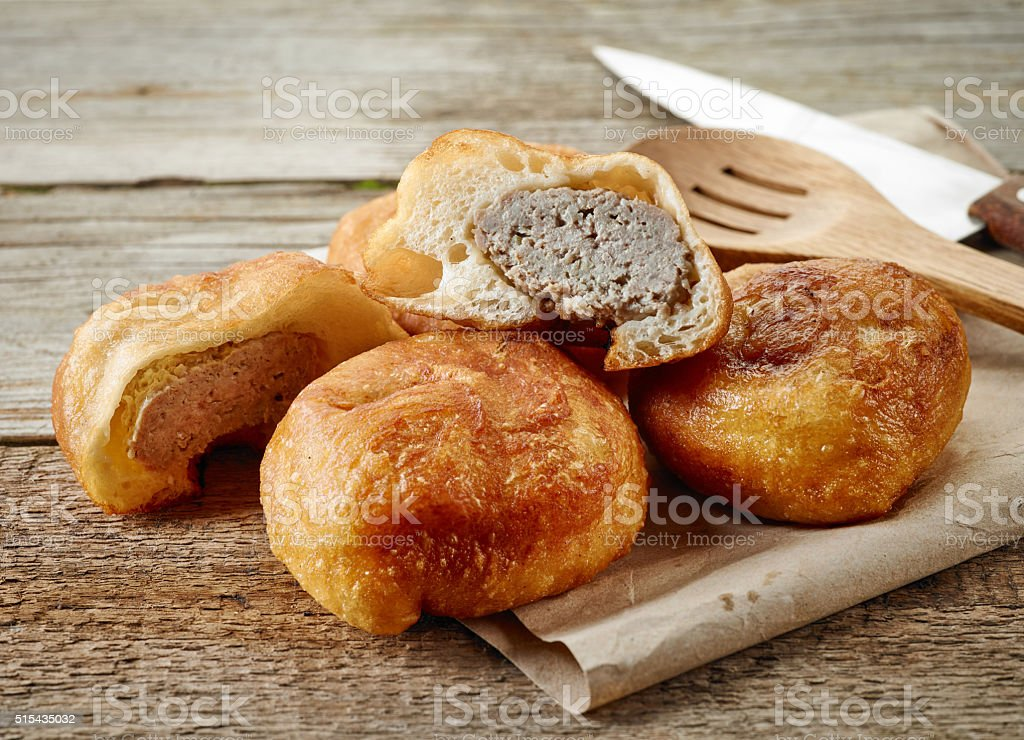 fried meat pies belyashi stock photo