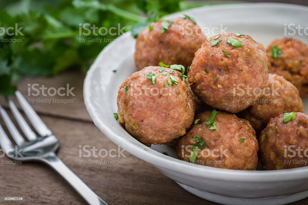 Fried meatballs on plate stock photo