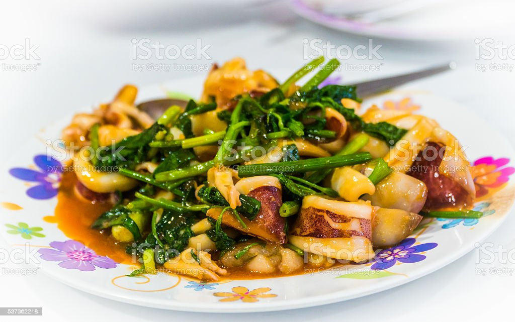 Fried mix seafood with oyster sauce stock photo
