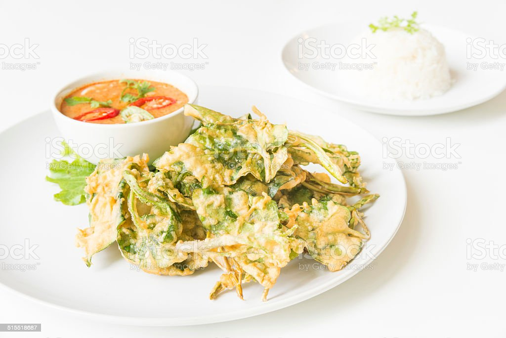 Fried Morning Glory with Spicy Pork Salad stock photo