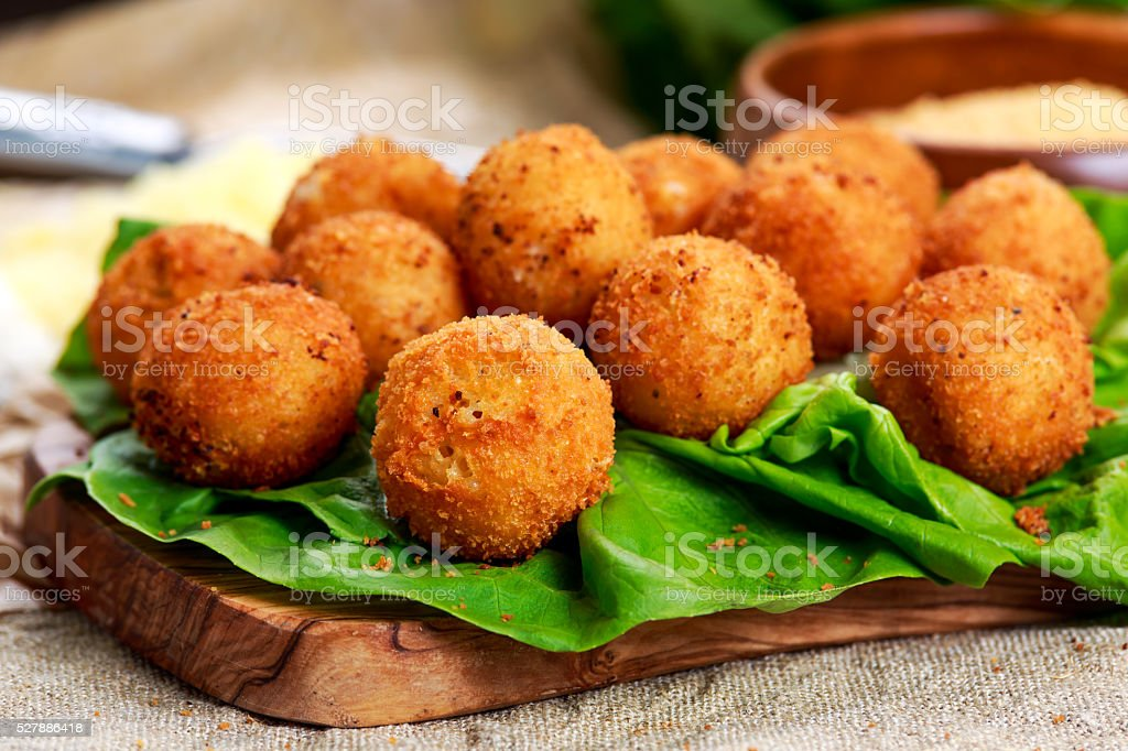 Fried mozzarella cheese stick balls stock photo