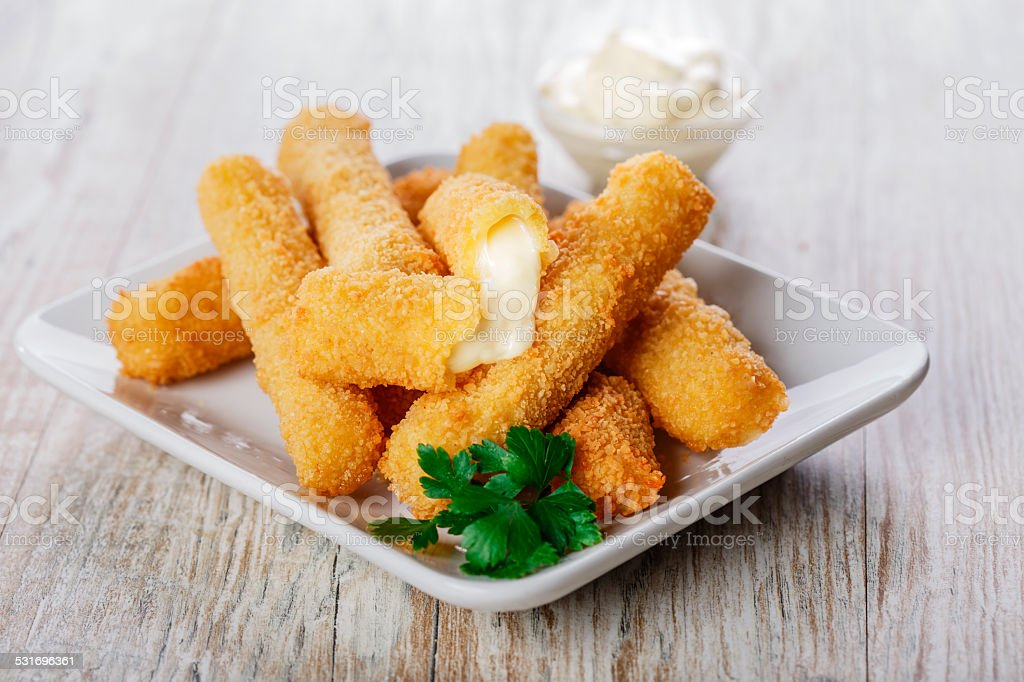 fried mozzarella cheese sticks breaded stock photo